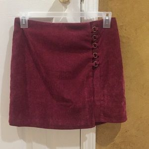 NWT Love Riche Burgundy Corduroy Skirt
